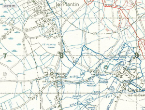 Windy Corner shown on a trench map