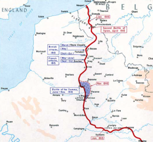 Map howing where the Somme took place