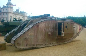 Replica First World War tank used in the 2011 film War Horse on display at Horseguards today 15 September 2016