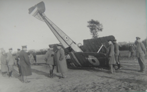 The crashed aircraft A137 at Linselles, surrounded by German officers