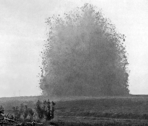 The famous picture of the mine exploded on Hawthorn Ridge. Taken by 2nd Lt. Ernest Brooks.