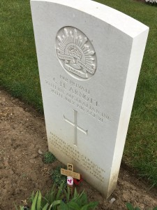 "Poignant inscription on grave at Pheasant Wood Cemetery- ""You were lost but now are found"""