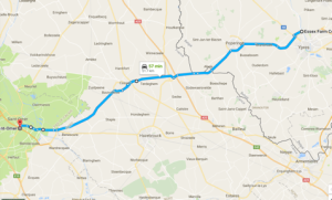 The likely route of Douglas's and Capt. Burke's trip to St. Omer