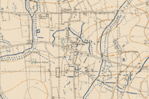 Pradelles on a British trench map 1918
