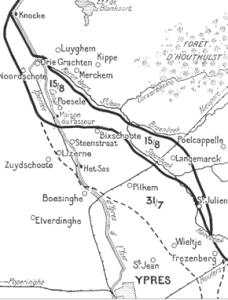 Ground gained in the allied advance between 16th and 18th August 1917