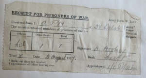 Sgt. N. Hookey gives a receipt for one German Prisoner of War on 3rd August from the PoW cage probably at Mordacq Farm, captured in the Battle for the Ypres Salient