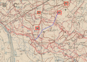 The blue line traces the route of the tramway. Points are highlighted in the red squares