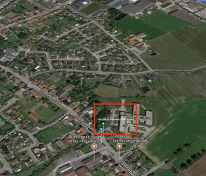 Google's Satellite view of Alouette Farm today, gradually being absorbed into the town of Langemarck