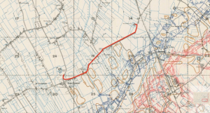 From The Brewery at Bois Grenier to Desalanque Farm with the trench system as in September 1917