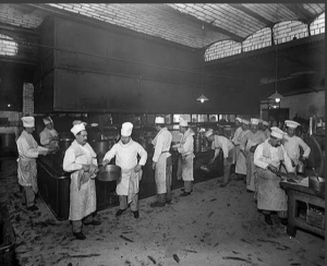 Chefs and kitchen staff working in the kitchens of Gatti's Restaurant. (Pictures kindly supplied by Chris Penna of Gatti House.)