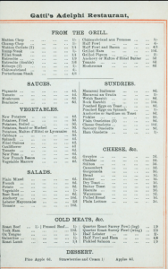 Menu from Gatti's Adelphi restaurant