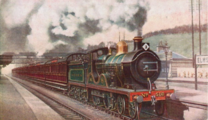 A South Eastern & Chatham Railway boat train with pre-war crimson livery, usually contained Pullman cars painted in the same Crimson Lake. The Pullmans retained the livery throughout the war.