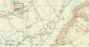 The 1917 trench map showing the Brewery, now a war cemetery.