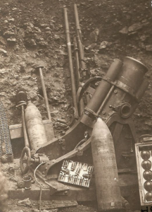 4.2 German shells and equipment including the trench mortar cannon.