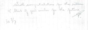 Congratulatory letter from unknown person