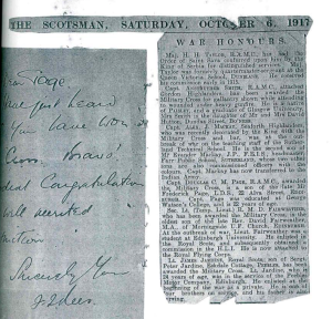 The Scotsman, War Honours page 6th October 1917