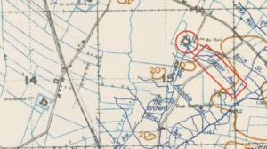 Trench map showing Cowgate Avenue and Ferme du Siez (Biez in the diary).