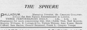 Palladium programme from 31 December 1917
