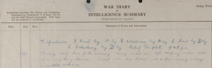 Extract from the 13th Royal Welsh Fusiliers Regimental Diary