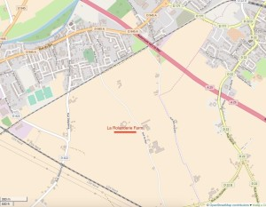 The site of Rolanderie Farm on a modern map.