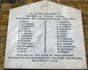 Plaque in Cyprus Street showing men lost