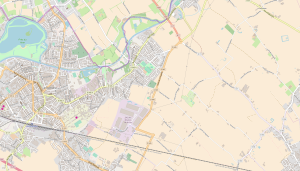 Modern day map showing Houplines to the west of Armentieres