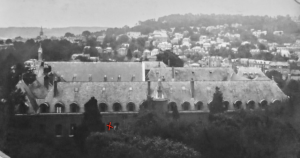 The No.2 British Red Cross Hospital, Rouen, France. The red cross denotes the ward where Captain Page was a patient.