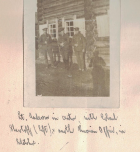Lt. Anderson in centre, with Colonel Shevtoff (left), and another Russian officer, in Seletskoe.
