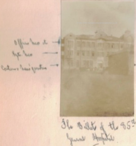 Douglas's photo of the mess quarters of the 85th General Hospital on Solombola Island showing the officers' mess on the top floor, sergeants' on the middle floor and the canteen and men's quarters on the ground floor.