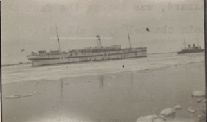 HMHS Kalyan on the River Dwina preceded by an Ice-breaker. (Picture from the diary all rights reserved)