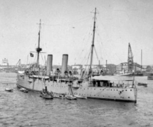 HMS Fox pictured in Archangel in 1919 (public domain)