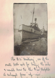 H.S. Sanitary, one of the small boats used for bringing the sick & wounded down to the Base Hospital at Archangel from up-river.