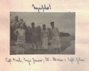 Nymphs Capt. Brasher, Major Jamieson, Lt. Herman and Captain Gilmour bathing on Moses Island