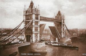 London Belle passing under Tower Bridge en-route down river. (An uncredited postcard)