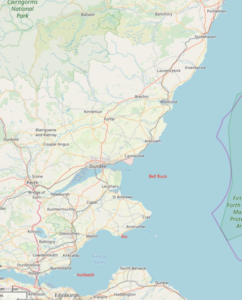 The east coast of Scotland showing the places mentioned © OpenStreetMap contributors