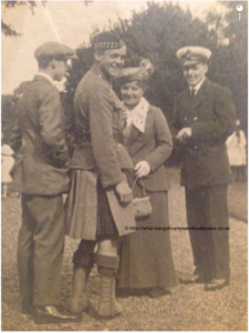 "Left to Right Kenneth Croal K.I.A 1918 in Oborzerskaya, Russia. Then Elma's family T.G.Gordon Sturrock K.I.A France 1916. Mrs Annie Sturrock, Elma's mother and Douglas Sturrock RNVR her brother that was on the quayside at Leith. Kenneth Croal was mentioned in the diary as having met Douglas for the first time on the City of Cairo on the way out to Archangel. He is also mentioned by General Ironside in his book ""Archangel 1918-1919"" (ISBN 847347-32-0)"